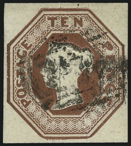 Sale Number 1037, Lot Number 3024, Great Britain: Stamps and BalancesGREAT BRITAIN, 1848, 10p Red Brown (6; SG 57), GREAT BRITAIN, 1848, 10p Red Brown (6; SG 57)