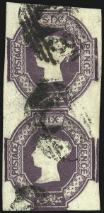 Sale Number 1037, Lot Number 3026, Great Britain: Stamps and BalancesGREAT BRITAIN, 1854, 6p Red Violet, Embossed (7; SG 60), GREAT BRITAIN, 1854, 6p Red Violet, Embossed (7; SG 60)