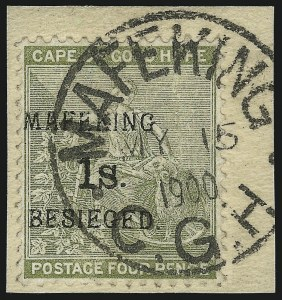 Sale Number 1037, Lot Number 3071, Cape of Good Hope thru GermanyCAPE OF GOOD HOPE, MAFEKING, 1900, 1sh on 4p Pale Olive Green (166; SG 5), CAPE OF GOOD HOPE, MAFEKING, 1900, 1sh on 4p Pale Olive Green (166; SG 5)