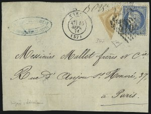 Sale Number 1037, Lot Number 3077, Cape of Good Hope thru GermanyFRANCE, 1863-70, 10c Bistre on Yellowish, Diagonal Half Used as 5c (32c; Yvert 28B var), FRANCE, 1863-70, 10c Bistre on Yellowish, Diagonal Half Used as 5c (32c; Yvert 28B var)