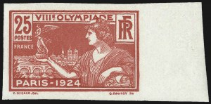 Sale Number 1037, Lot Number 3080, Cape of Good Hope thru GermanyFRANCE, 1924, 25c 8th Olympics, Imperforate (199a, Yvert 184a), FRANCE, 1924, 25c 8th Olympics, Imperforate (199a, Yvert 184a)