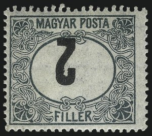 "Sale Number 1037, Lot Number 3128, Hong Kong thru HungaryHUNGARY, 1919-20, 2f Green and Black, Postage Due, Numeral ""2"" Inverted (J65a), HUNGARY, 1919-20, 2f Green and Black, Postage Due, Numeral ""2"" Inverted (J65a)"