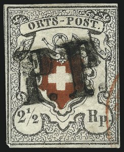 Sale Number 1037, Lot Number 3177, SwitzerlandSWITZERLAND, 1850, 2-1/2r Black & Red, Orts-Post, With and Without Frame Around Cross (1, 3), SWITZERLAND, 1850, 2-1/2r Black & Red, Orts-Post, With and Without Frame Around Cross (1, 3)