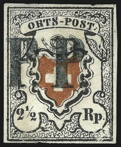 Sale Number 1037, Lot Number 3178, SwitzerlandSWITZERLAND, 1850, 2-1/2r Poste Locale, Frame Around Cross, 2-1/2r Orts-Post, Without Frame Around Cross (2, 3), SWITZERLAND, 1850, 2-1/2r Poste Locale, Frame Around Cross, 2-1/2r Orts-Post, Without Frame Around Cross (2, 3)