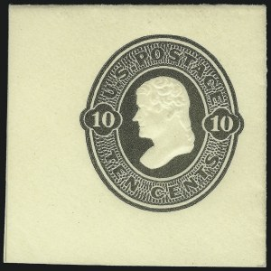 Sale Number 1039, Lot Number 123, 1870-71 Reay and 1874-86 Plimpton Issues10c Olive Black on Amber, Die 39, Full Corner (U90), 10c Olive Black on Amber, Die 39, Full Corner (U90)