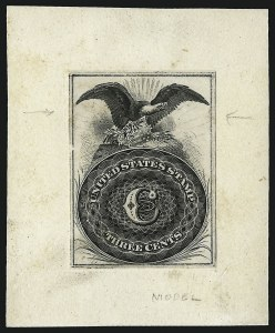 Sale Number 1040, Lot Number 1015, Essays and Proofs (Postmasters Provisionals thru 1869 Pictorial Issue)3c Eagle and Coin, Model Essay on India (Brazer 56E-G var), 3c Eagle and Coin, Model Essay on India (Brazer 56E-G var)