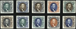 Sale Number 1040, Lot Number 1045, Essays and Proofs (Postmasters Provisionals thru 1869 Pictorial Issue)1c-90c 1869 Pictorial Issue, Atlanta Trial Color Plate Proofs on Card (123TC1-132TC1), 1c-90c 1869 Pictorial Issue, Atlanta Trial Color Plate Proofs on Card (123TC1-132TC1)