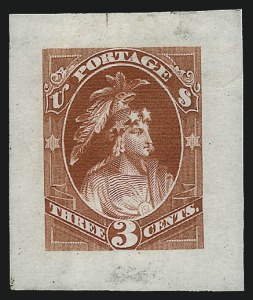 Sale Number 1040, Lot Number 1079, Essays and Proofs (1870-90 Bank Note Issues)Continental Bank Note Co., 3c Brown, Indian Maiden, Large Die Essay on India (184-E16), Continental Bank Note Co., 3c Brown, Indian Maiden, Large Die Essay on India (184-E16)