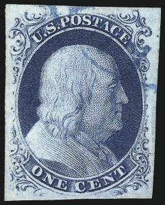 Sale Number 1040, Lot Number 1187, 1c-12c 1851-56 Issue (Scott 5A-17)1c Blue, Ty. IIIa (8A), 1c Blue, Ty. IIIa (8A)