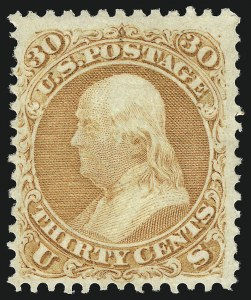 Sale Number 1040, Lot Number 1295, 1861-66 Issue and Encased Postage (Scott 56-78)30c Orange (71), 30c Orange (71)