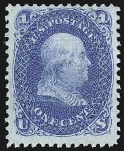 Sale Number 1040, Lot Number 1322, 1867-68 Grilled Issue (Scott 83-101)1c Blue, E. Grill (86), 1c Blue, E. Grill (86)