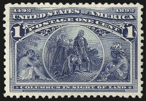Sale Number 1040, Lot Number 1475, 1893 Columbian Issue, 1c thru 50c, Singles (Scott 230-240)1c Columbian (230), 1c Columbian (230)