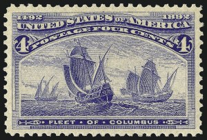 Sale Number 1040, Lot Number 1479, 1893 Columbian Issue, 1c thru 50c, Singles (Scott 230-240)4c Columbian (233), 4c Columbian (233)