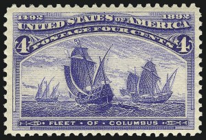 Sale Number 1040, Lot Number 1480, 1893 Columbian Issue, 1c thru 50c, Singles (Scott 230-240)4c Columbian (233), 4c Columbian (233)