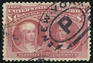 Sale Number 1040, Lot Number 1509, 1893 Columbian Issue, $1.00-$5.00, Singles (Scott 241-245)$4.00 Rose Carmine, Columbian (244a), $4.00 Rose Carmine, Columbian (244a)