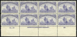 Sale Number 1040, Lot Number 1528, 1893 Columbian Issue, Multiples (Scott 230-240)4c Columbian (233), 4c Columbian (233)