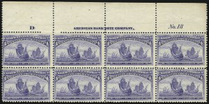 Sale Number 1040, Lot Number 1529, 1893 Columbian Issue, Multiples (Scott 230-240)4c Columbian (233), 4c Columbian (233)