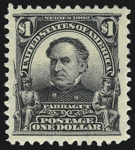 Sale Number 1040, Lot Number 1662, 1902-08 Issues (Scott 300-320)$1.00 Black (311), $1.00 Black (311)