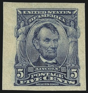 Sale Number 1040, Lot Number 1674, 1902-08 Issues (Scott 300-320)5c Blue, Imperforate (315), 5c Blue, Imperforate (315)