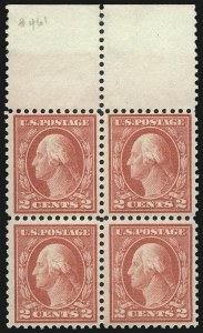 Sale Number 1040, Lot Number 1840, 1914-15 Issues (Scott 445-461)2c Pale Carmine Red, Ty. I (461), 2c Pale Carmine Red, Ty. I (461)