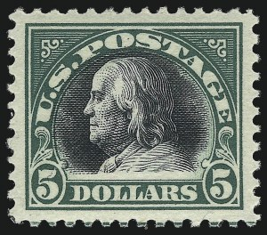 Sale Number 1040, Lot Number 1920, 1917-18 Issues (Scott 498-524)$5.00 Deep Green & Black (524), $5.00 Deep Green & Black (524)