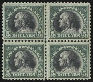 Sale Number 1040, Lot Number 1921, 1917-18 Issues (Scott 498-524)$5.00 Deep Green & Black (524), $5.00 Deep Green & Black (524)