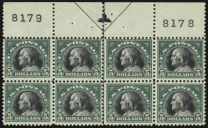 Sale Number 1040, Lot Number 1922, 1917-18 Issues (Scott 498-524)$5.00 Deep Green & Black (524), $5.00 Deep Green & Black (524)