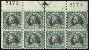 Sale Number 1040, Lot Number 1924, 1917-18 Issues (Scott 498-524)$5.00 Deep Green & Black (524), $5.00 Deep Green & Black (524)
