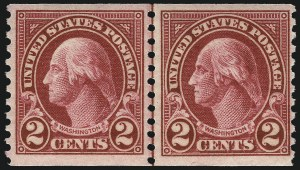 Sale Number 1040, Lot Number 2003, 1923-33 Issues (Scott 577-734a)2c Carmine, Joint Line Pair, Ty. I, II (599-599A), 2c Carmine, Joint Line Pair, Ty. I, II (599-599A)