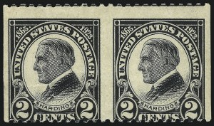 Sale Number 1040, Lot Number 2005, 1923-33 Issues (Scott 577-734a)2c Harding, Horizontal Pair, Imperforate Vertically (610a), 2c Harding, Horizontal Pair, Imperforate Vertically (610a)