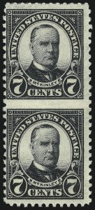 Sale Number 1040, Lot Number 2019, 1923-33 Issues (Scott 577-734a)7c Black, Vertical Pair, Imperforate Between (639a), 7c Black, Vertical Pair, Imperforate Between (639a)