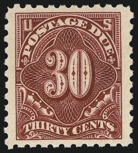 Sale Number 1040, Lot Number 2132, Postage Due (Scott J2-J96a)30c Carmine Lake (J57), 30c Carmine Lake (J57)