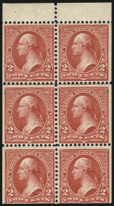 Sale Number 1040, Lot Number 2187, Booklet Panes and Complete Booklets2c Red, Ty. IV, Booklet Pane of Six, Vertical Wmk. (279Bk), 2c Red, Ty. IV, Booklet Pane of Six, Vertical Wmk. (279Bk)