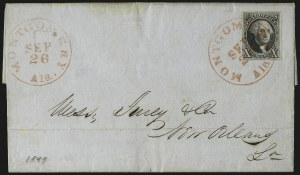 Sale Number 1041, Lot Number 100, On-Cover Domestic Uses by State: Alabama thru Delaware10c Black (2), 10c Black (2)
