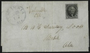 Sale Number 1041, Lot Number 102, On-Cover Domestic Uses by State: Alabama thru Delaware10c Black (2), 10c Black (2)