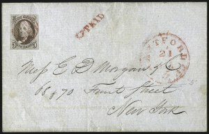 Sale Number 1041, Lot Number 105, On-Cover Domestic Uses by State: Alabama thru Delaware5c Red Brown (1), 5c Red Brown (1)