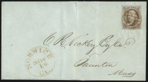 Sale Number 1041, Lot Number 109, On-Cover Domestic Uses by State: Alabama thru Delaware5c Red Brown (1), 5c Red Brown (1)