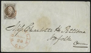 Sale Number 1041, Lot Number 110, On-Cover Domestic Uses by State: Alabama thru Delaware5c Red Brown (1), 5c Red Brown (1)