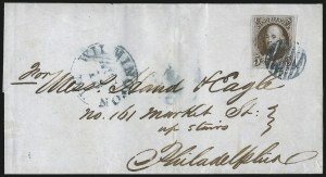 Sale Number 1041, Lot Number 113, On-Cover Domestic Uses by State: Alabama thru Delaware5c Dark Brown (1a), 5c Dark Brown (1a)
