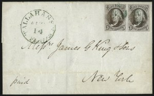Sale Number 1041, Lot Number 116, On-Cover Domestic Uses by State: District of Columbia thru Maine5c Dark Brown (1a), 5c Dark Brown (1a)