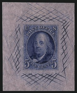 Sale Number 1041, Lot Number 13, Essays and Proofs5c Deep Blue, Large Die Trial Color Proof on Pink Bond, Watermarked (1TC1be), 5c Deep Blue, Large Die Trial Color Proof on Pink Bond, Watermarked (1TC1be)