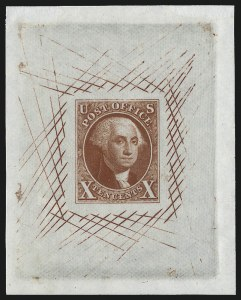 Sale Number 1041, Lot Number 17, Essays and Proofs10c Orange Vermilion, Large Die Trial Color Proof on India (2TC1aj), 10c Orange Vermilion, Large Die Trial Color Proof on India (2TC1aj)