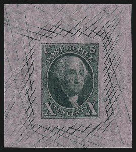 Sale Number 1041, Lot Number 18, Essays and Proofs10c Dull Green, Large Die Trial Color Proof on Pink Bond, Watermarked (2TC1bh), 10c Dull Green, Large Die Trial Color Proof on Pink Bond, Watermarked (2TC1bh)