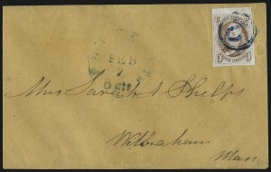Sale Number 1041, Lot Number 183, On-Cover Domestic Uses by State: North Carolina thru Wisconsin5c Red Brown (1), 5c Red Brown (1)