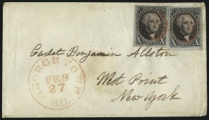 Sale Number 1041, Lot Number 189, On-Cover Domestic Uses by State: North Carolina thru Wisconsin10c Black (2), 10c Black (2)