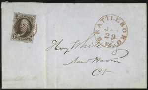 Sale Number 1041, Lot Number 190, On-Cover Domestic Uses by State: North Carolina thru Wisconsin5c Red Brown (1), 5c Red Brown (1)