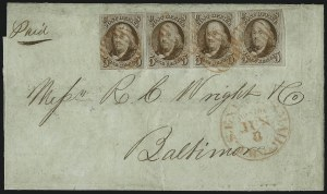 Sale Number 1041, Lot Number 200, Multiples on Cover5c Red Brown (1), 5c Red Brown (1)