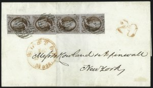 Sale Number 1041, Lot Number 202, Multiples on Cover5c Red Brown (1), 5c Red Brown (1)