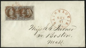 Sale Number 1041, Lot Number 205, Multiples on Cover5c Red Brown (1), 5c Red Brown (1)
