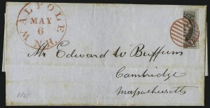 Sale Number 1041, Lot Number 210, Bisects on Cover10c Black, Vertical Half Used as 5c (2b), 10c Black, Vertical Half Used as 5c (2b)